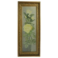 Antique French Floral Still Life of Yellow Rose Yard Long Oil on Board