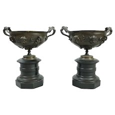 Antique French Neoclassical Bronze and Marble Figural Urn Compotes, circa 1880