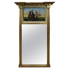 Vintage Federal Style Églomise Gilt Trumeau Mirror with Ship by Beacon Hill