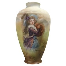 Antique German Royal Bayreuth Bavaria Tapestry Porcelain Portrait Vase