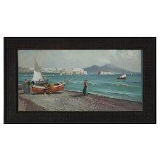 Vintage Italian School Coastal Acrylic Painting, Signed Rilliay, circa 1970