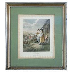 """Vintage English Framed Hand Tinted Engraving """"February"""" by W. Hamilton, RA"""