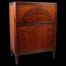 Antique Adam Style Painted & Ebonized Satinwood & Bronze High Chest, circa 1900