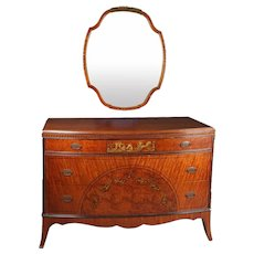 Antique Fine Adam Style Painted and Ebonized Satinwood and Bronze Mirror Chest