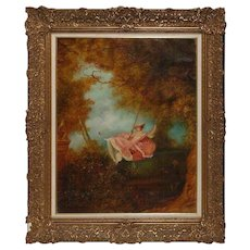 Vintage and Large Romantic Oil on Canvas by Toni Trevari, 20th Century