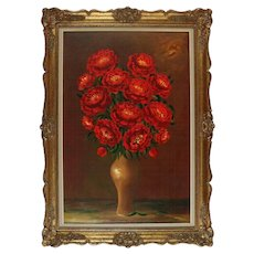 Vintage and Large Oil on Canvas Roses, Signed, COA, 20th Century