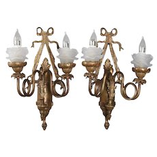 Pair of Vintage French Cast Bronzed Wall Sconces with Floral Bobeches