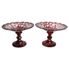 Pair of Antique Cranberry Cut to Clear Compotes with English Ivy, circa 1880