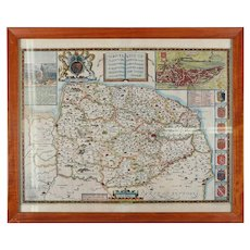 Antique Tinted Map Northfolke England by C. Saxton, Counties & Noble Families