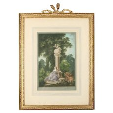 "Antique English Print ""L'Abandon"" by Herbert Sedcole in Gilt Frame, 19th Century"
