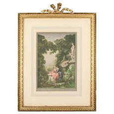 "Antique English Print ""Les Souventres"" by Herbert E. Sedcole in Gilt Frame"