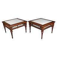 Pair of Antique French Louis XVI Style Marble, Mahogany & Bronze Low Tables