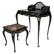Antique Japanned Caned Black Lacquer Paint Decorated Desk & Stool, 19th Century