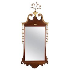 Large Antique Mahogany and Giltwood Chippendale Wall Mirror, 19th Century