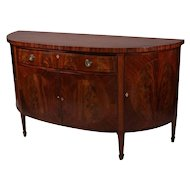 Antique English Flame Mahogany Inlaid Demilune Sideboard, 19th Century