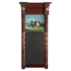 Antique Federal Flame Mahogany Reverse Painted Wall Mirror, 19th Century