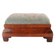 Antique Empire Flame Mahogany Ogee and Needlepoint Footstool, 19th Century