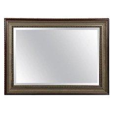 Cove Molded Silver & Gold Gilt Mahogany Framed Beveled Wall Mirror, 20th Century