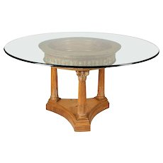 Classical White Washed Corinthian Column Glass Top Dining Table, 20th Century