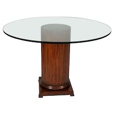 Classical Mahogany Corinthian Column Glass Top Dining Table, 20th Century