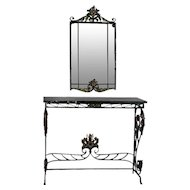 Spanish Acanthus and Floral, Iron with Marble Console Table with Parclose Mirror