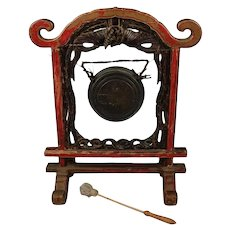 Antique Carved Chinese Ceremonial Pagoda Form Phoenix Gong with Striker