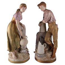 Pair of Hand-Painted Porcelain Figures, Royal Dux, Czechoslovakia, 19th Century