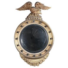 Antique Federal Giltwood and Ebonized Figural Eagle Bullseye Wall Mirror