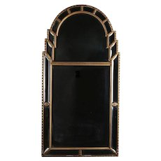 Hollywood Regency Giltwood Beveled and Arched Parclose Mirror, 20th Century
