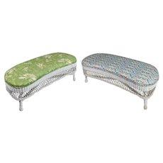 Pair of Heywood Wakefield School Wicker Kidney Shaped Upholstered Benches