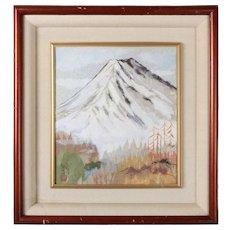 Japanese Chigirie Work of Mt. Fuji by Master Seino Kozaki, 20th Century
