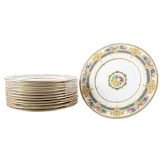 12 English Minton Classical Gilt Porcelain Dessert Plates with Fruit