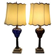 Pair of Antique Cut to Clear Electrified Oil Lamps, Cranberry and Cobalt