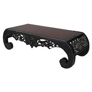 Antique Chinese Heavily Carved and Ebonized Tea Table, 20th Century