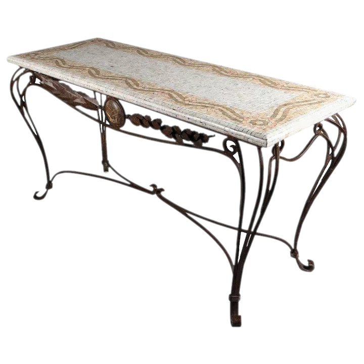 Italian Mosaic Tile Hall Table With Wrought Iron Base 20th Century