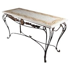 Italian Mosaic Tile Hall Table with Wrought Iron Base, 20th Century