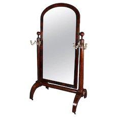 American Empire Quervelle School Flame Mahogany Cheval Mirror, 20th Century