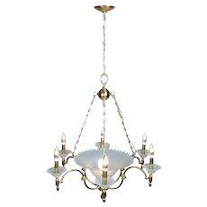 Hollywood Regency Brass Aqua Opalescent Glass Seven-Light Centre Bowl Chandelier