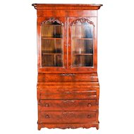 Antique American Empire Flame Mahogany Carved Slant Front Secretary 19th Century