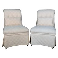 Pair of Vintage Petite Scroll Back Upholstered Slipper Chairs, 20th Century