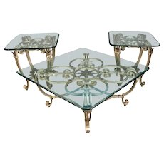 Hollywood Regency Gilt Iron & Glass Fleur de Lis Table Set, 20th Century