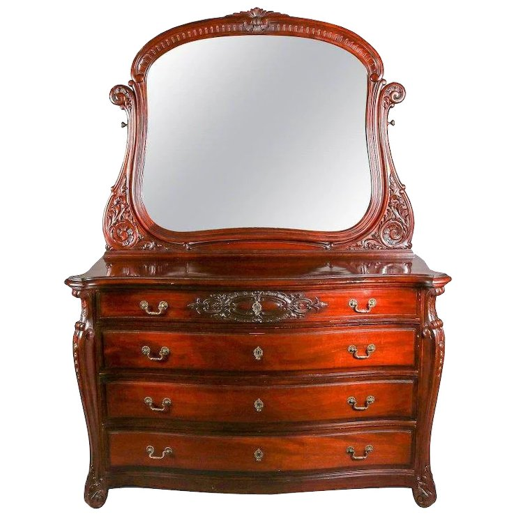 Antique Horner Bros Carved Mahogany Bow Front Dresser With Mirror 20th Century