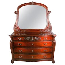 Antique Horner Bros. Carved Mahogany Bow-Front Dresser with Mirror, 20th Century
