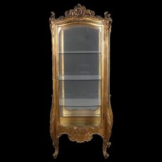 Antique French Louis XIV Style Giltwood Mirror Back Bow Front Vitrine