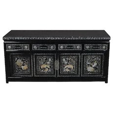 Asian Style Ebonized and Mother-of-Pearl Inlaid Tabletop Credenza, 20th Century