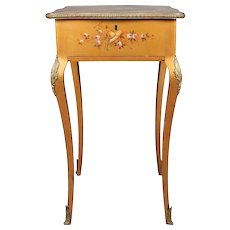 Antique French Classical Vernis Martin Style Giltwood Dressing Table