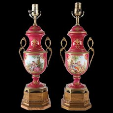 Pair of Antique Sevres Hand-Painted, Gilt Porcelain and Bronze Lamps, Signed