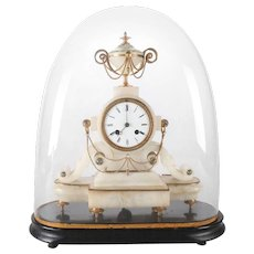 Antique Neoclassical French Louis XV Style Alabaster & Bronze Urn Mantel Clock