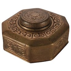 Antique Tiffany Studios New York Bronze Doré Zodiac Inkwell with Cancer Crab
