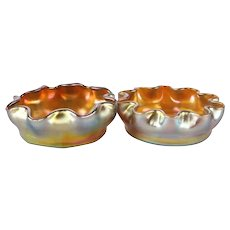 Pair of Antique Louis Comfort Tiffany Gold Favrile Art Glass Master Salt Cellars